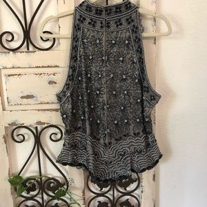 Papell boutique evening beautiful beaded silk top